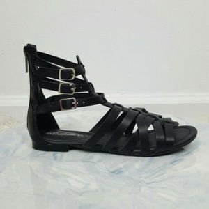 Shoes - Black Strapped Gladiator Sandals Womens Shoes